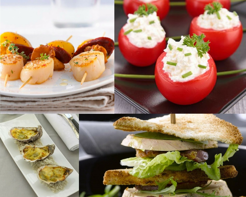 Brochettes de St Jacques, tomates cerises farcies, huîtres et club sandwich foie gras - Pinterest